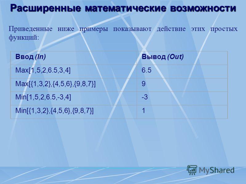 Расширенные математические возможности Приведенные ниже примеры показывают действие этих простых функций: Ввод (In)Вывод (Out) Max[1,5,2,6.5,3,4]6.5 Max[{1,3,2},{4,5,6},{9,8,7}]9 Min[1,5,2,6.5,-3,4]-3 Min[{1,3,2},{4,5,6},{9,8,7}]1