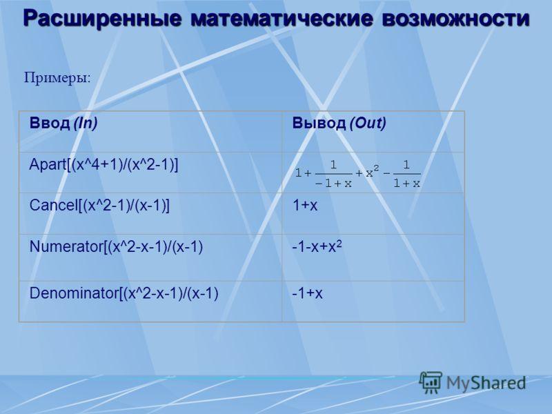 Расширенные математические возможности Примеры: Ввод (In)Вывод (Out) Apart[(x^4+1)/(x^2-1)] Cancel[(x^2-1)/(x-1)]1+x Numerator[(x^2-x-1)/(x-1)-1-x+x 2 Denominator[(x^2-x-1)/(x-1)-1+x