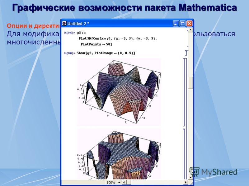 Графические возможности пакета Mathematica Опции и директивы трехмерной графики Для модификации трехмерных графиков могут использоваться многочисленные опции и директивы.