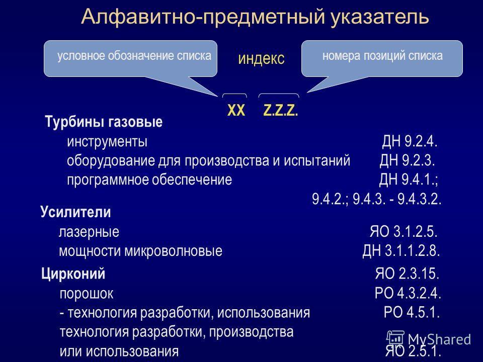 Алфавитно-предметный указатель условное обозначение списканомера позиций списка ХХ Z.Z.Z. индекс Турбины газовые инструменты ДН 9.2.4. оборудование для производства и испытаний ДН 9.2.3. программное обеспечение ДН 9.4.1.; 9.4.2.; 9.4.3. - 9.4.3.2. Ус