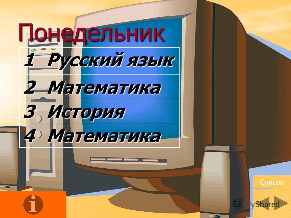 Понедельник1 Русский язык 2Математика 3История 4Математика Список