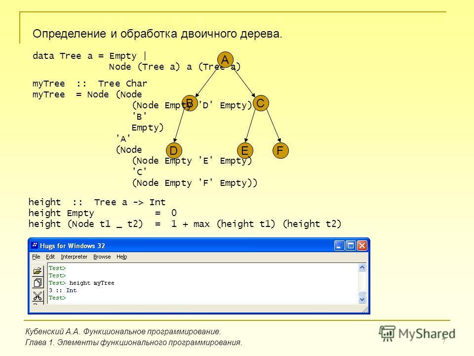 7 Определение и обработка двоичного дерева. Кубенский А.А. Функциональное программирование. Глава 1. Элементы функционального программирования. data Tree a = Empty | Node (Tree a) a (Tree a) A BC DEF myTree :: Tree Char myTree = Node (Node (Node Empt
