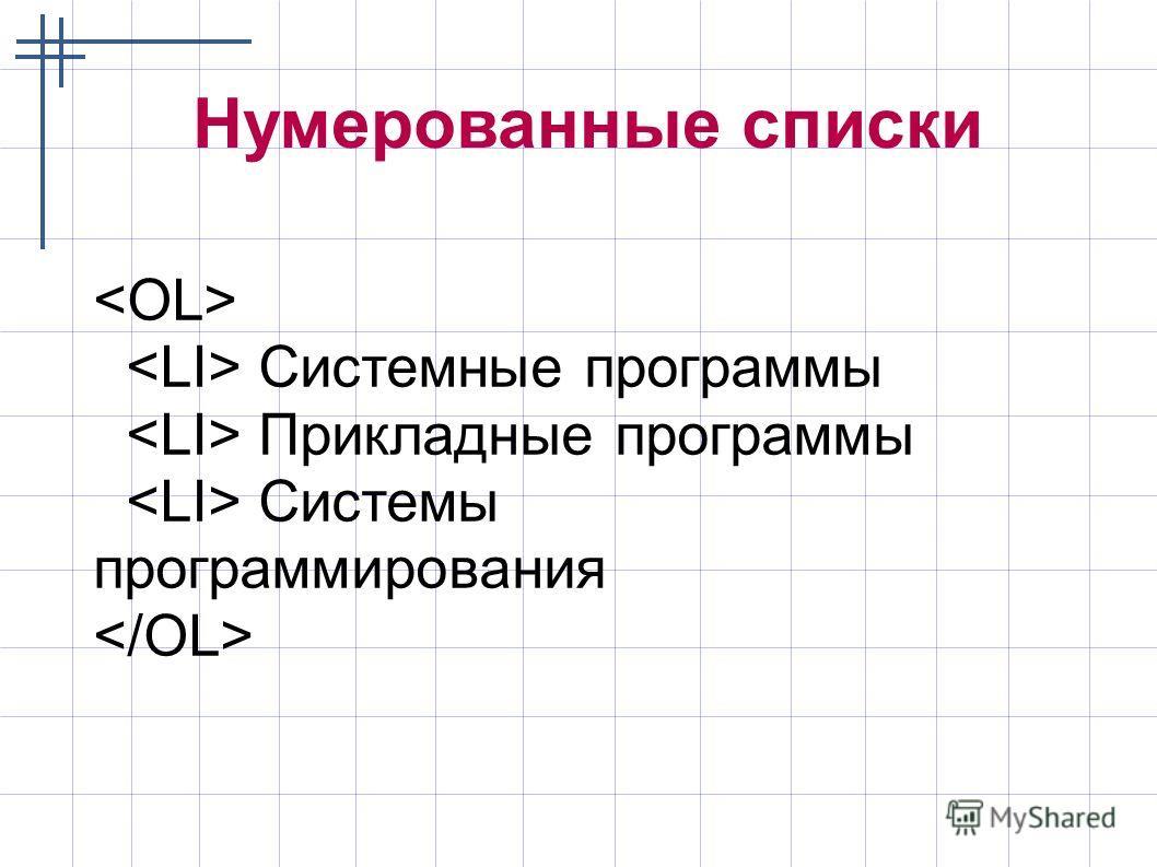 Нумерованные списки Системные программы Прикладные программы Системы программирования