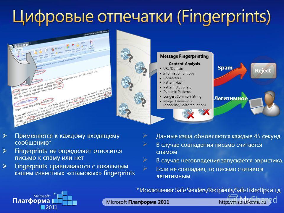 Применяется к каждому входящему сообщению* Fingerprints не определяет относится письмо к спаму или нет Fingerprints сравниваются с локальным кэшем известных «спамовых» fingerprints Spam Легитимное Fingerprint Cache Reject * Исключения: Safe Senders/R