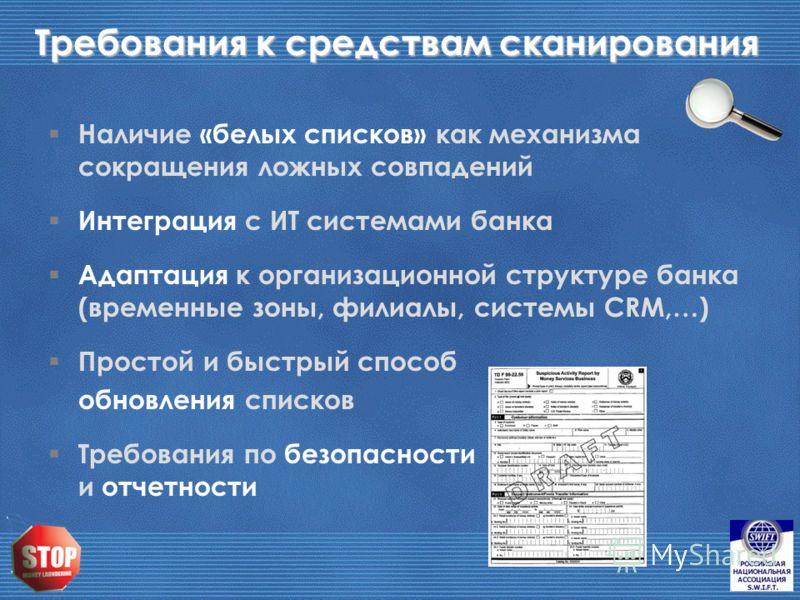 Требования к средствам сканирования Наличие «белых списков» как механизма сокращения ложных совпадений Интеграция с ИТ системами банка Адаптация к организационной структуре банка (временные зоны, филиалы, системы CRM,…) Простой и быстрый способ обнов