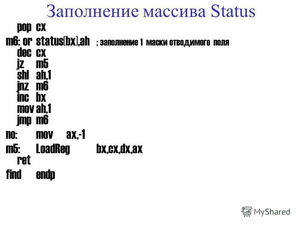 Процедура поиска места в куче next1: popax ; восстановление размера pushax m3:incbx ; увеличение номера байта loopm0 ; цикл по всем байтам jzno yes:shlbx,3 ; вычисление номера последнего бита popcx ; считан размер m4:incbx; добавить сдвиг внутри байт