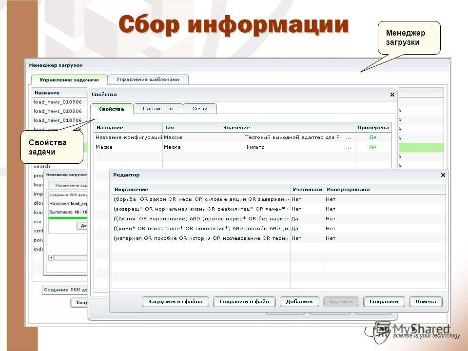 Сбор информации Менеджер загрузки Свойства задачи