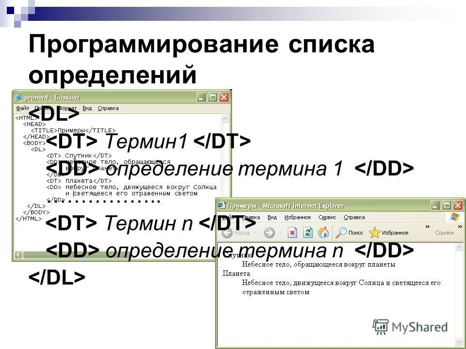 Программирование списка определений Термин1 определение термина 1 …………….. Термин n определение термина n