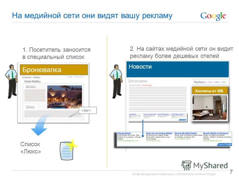 Конфиденциальная информация, собственность компании Google На медийной сети они видят вашу рекламу 7 Список «Люкс» 2. На сайтах медийной сети он видит рекламу более дешевых отелей 1. Посетитель заносится в специальный список Бронювалка Отели > Люкс Д