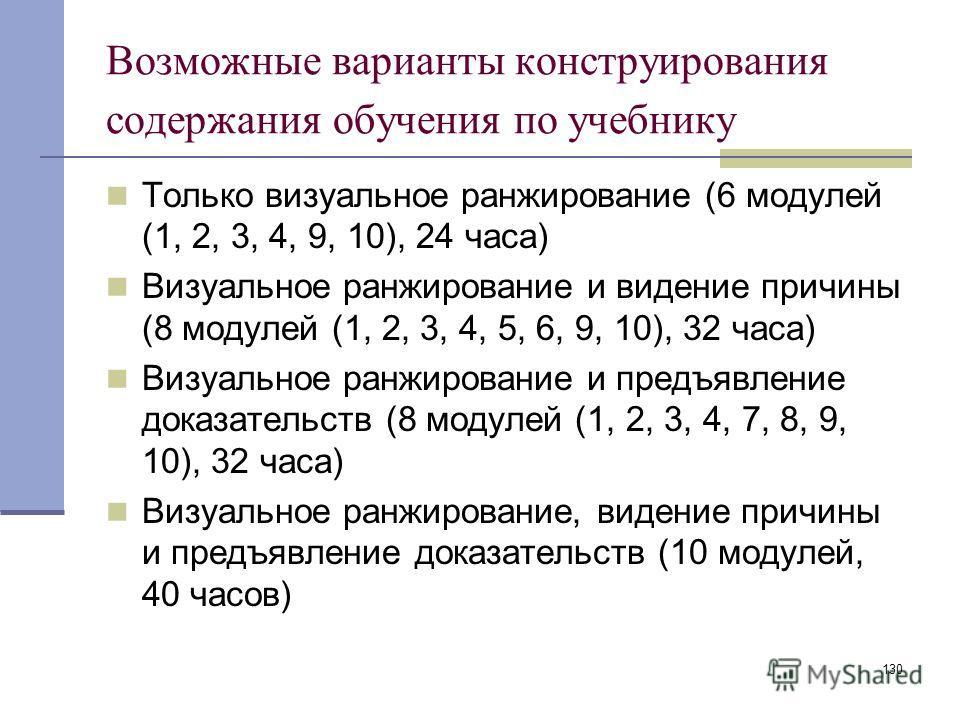 130 Возможные варианты конструирования содержания обучения по учебнику Только визуальное ранжирование (6 модулей (1, 2, 3, 4, 9, 10), 24 часа) Визуальное ранжирование и видение причины (8 модулей (1, 2, 3, 4, 5, 6, 9, 10), 32 часа) Визуальное ранжиро