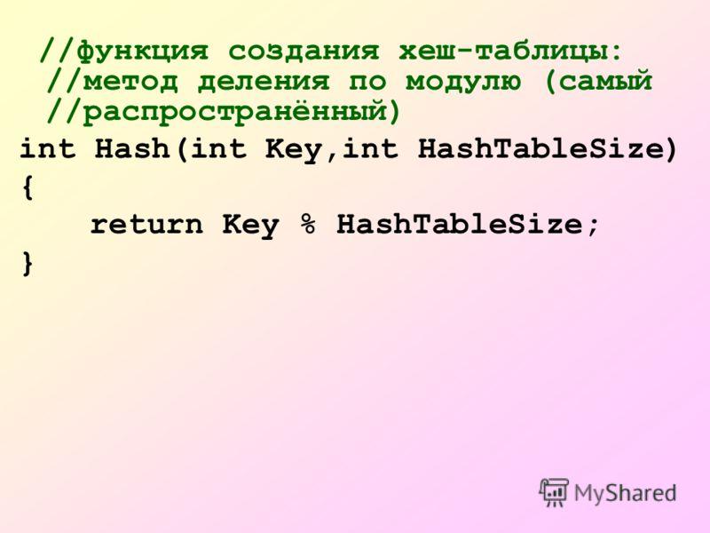 //функция создания хеш-таблицы: //метод деления по модулю (самый //распространённый) int Hash(int Key,int HashTableSize) { return Key % HashTableSize; }