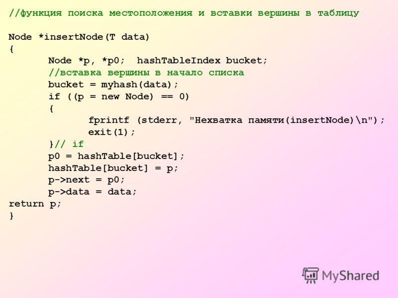 //функция поиска местоположения и вставки вершины в таблицу Node *insertNode(T data) { Node *p, *p0; hashTableIndex bucket; //вставка вершины в начало списка bucket = myhash(data); if ((p = new Node) == 0) { fprintf (stderr,
