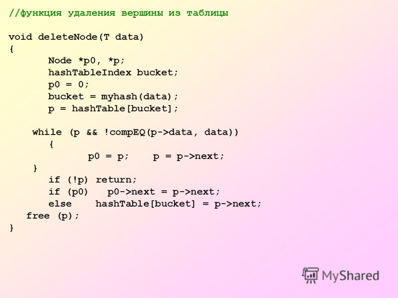 //функция удаления вершины из таблицы void deleteNode(T data) { Node *p0, *p; hashTableIndex bucket; p0 = 0; bucket = myhash(data); p = hashTable[bucket]; while (p && !compEQ(p->data, data)) { p0 = p; p = p->next; } if (!p) return; if (p0) p0->next =