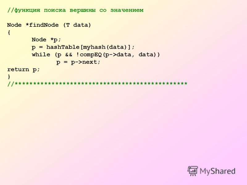//функция поиска вершины со значением Node *findNode (T data) { Node *p; p = hashTable[myhash(data)]; while (p && !compEQ(p->data, data)) p = p->next; return p; } //***********************************************
