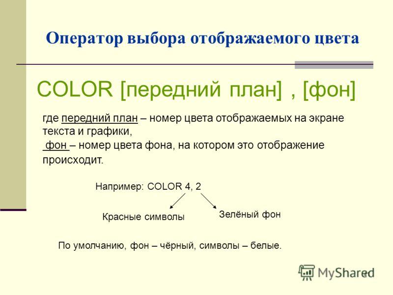 41 Оператор выбора отображаемого цвета где передний план – номер цвета отображаемых на экране текста и графики, фон – номер цвета фона, на котором это отображение происходит. COLOR [передний план], [фон] Например: COLOR 4, 2 Красные символы Зелёный ф