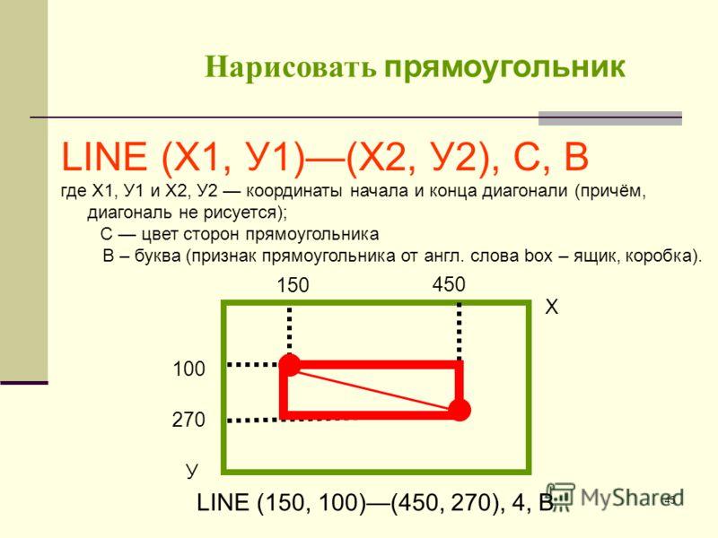 45 LINE (Х1, У1)(Х2, У2), С, В где Х1, У1 и Х2, У2 координаты начала и конца диагонали (причём, диагональ не рисуется); С цвет сторон прямоугольника В – буква (признак прямоугольника от англ. слова box – ящик, коробка). Х 100 У 270 LINE (150, 100)(45