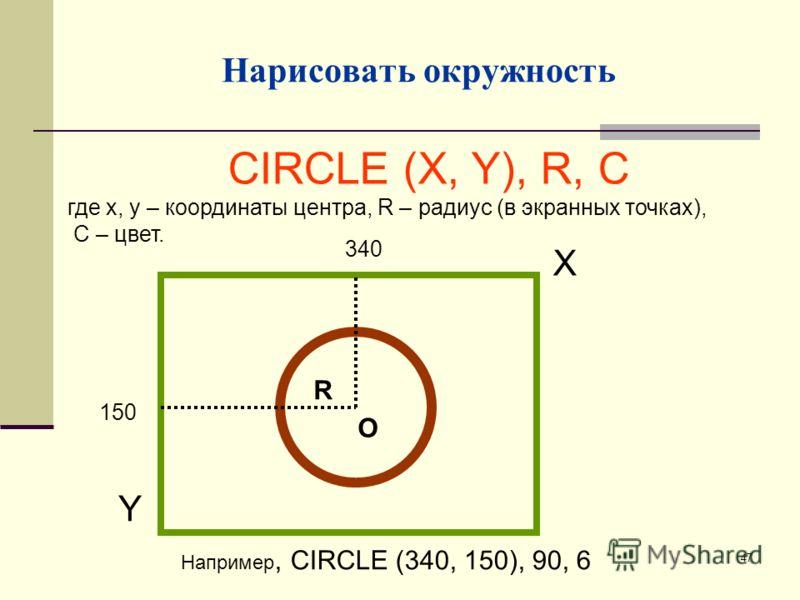 47 Нарисовать окружность CIRCLE (X, Y), R, C где х, у – координаты центра, R – радиус (в экранных точках), С – цвет. R O 150 340 Х Y Например, CIRCLE (340, 150), 90, 6
