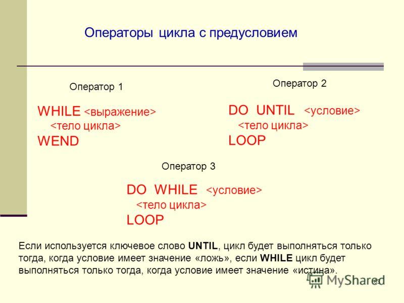 63 WHILE WEND Операторы цикла с предусловием Оператор 1 Оператор 2 DO UNTIL LOOP Оператор 3 DO WHILE LOOP Если используется ключевое слово UNTIL, цикл будет выполняться только тогда, когда условие имеет значение «ложь», если WHILE цикл будет выполнят