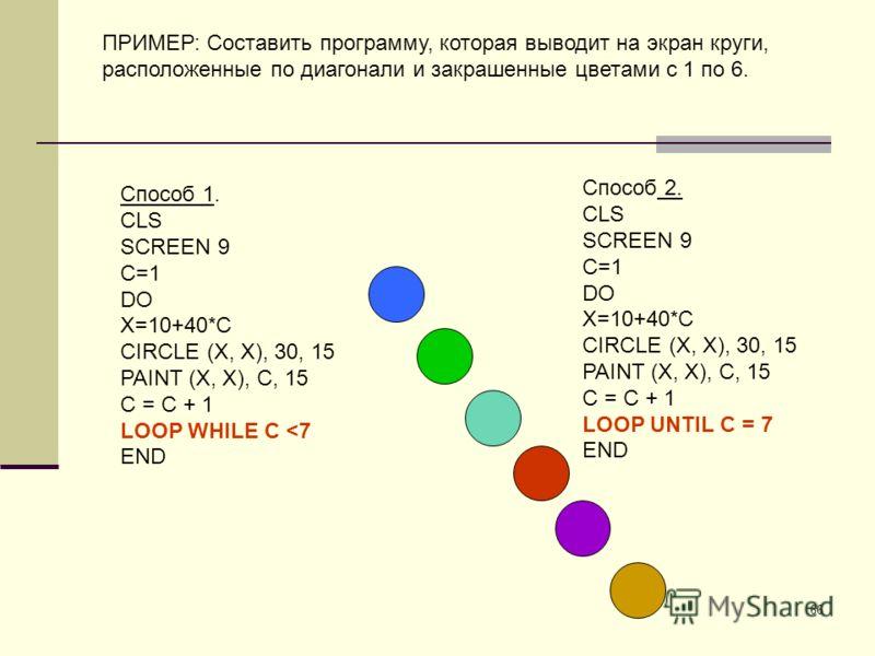 66 ПРИМЕР: Составить программу, которая выводит на экран круги, расположенные по диагонали и закрашенные цветами с 1 по 6. Способ 1. CLS SCREEN 9 C=1 DO X=10+40*C CIRCLE (X, X), 30, 15 PAINT (X, X), C, 15 C = C + 1 LOOP WHILE C