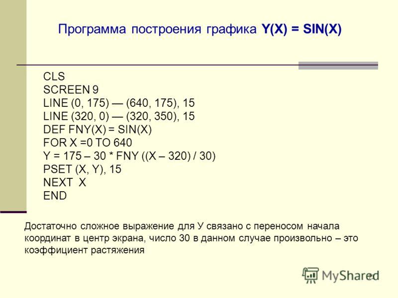 73 Программа построения графика Y(X) = SIN(X) CLS SCREEN 9 LINE (0, 175) (640, 175), 15 LINE (320, 0) (320, 350), 15 DEF FNY(X) = SIN(X) FOR X =0 TO 640 Y = 175 – 30 * FNY ((X – 320) / 30) PSET (X, Y), 15 NEXT X END Достаточно сложное выражение для У