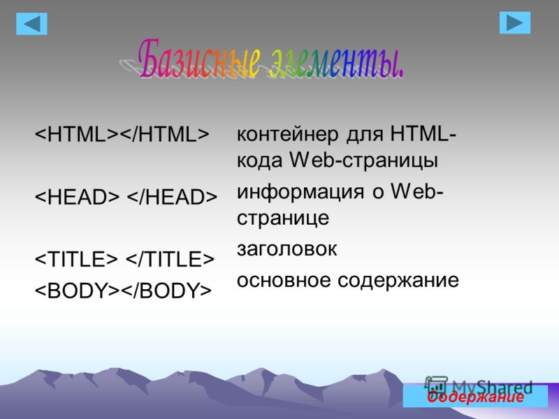 контейнер для HTML- кода Web-страницы информация о Web- странице заголовок основное содержание Содержание