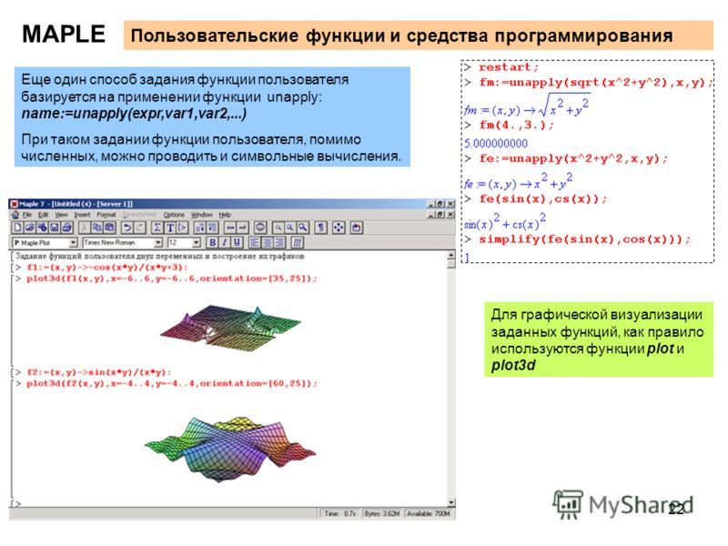 22 MAPLE Пользовательские функции и средства программирования Еще один способ задания функции пользователя базируется на применении функции unapply: name:=unapply(expr,var1,var2,...) При таком задании функции пользователя, помимо численных, можно про