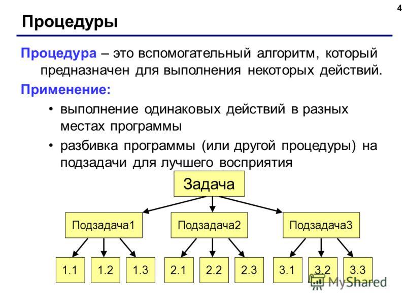 3 Процедуры Задача: Построить фигуру: Особенность: Три похожие фигуры. общее: размеры, угол поворота отличия: координаты, цвет Можно ли решить известными методами? ? Сколько координат надо задать? ?