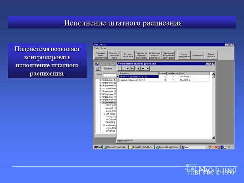 ВГУЭС © 1999 Исполнение штатного расписания Исполнение штатного расписания Подсистема позволяет контролировать исполнение штатного расписания.