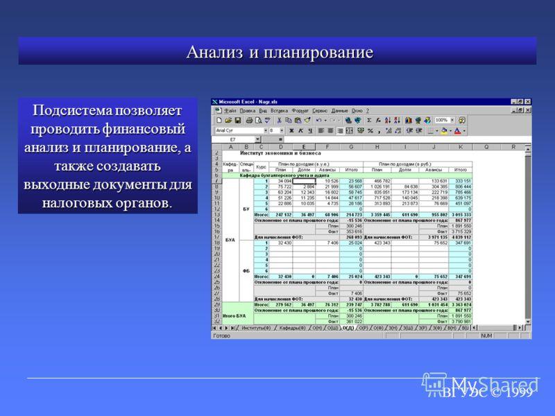 ВГУЭС © 1999 Анализ и планирование Анализ и планирование Подсистема позволяет проводить финансовый анализ и планирование, а также создавать выходные документы для налоговых органов.
