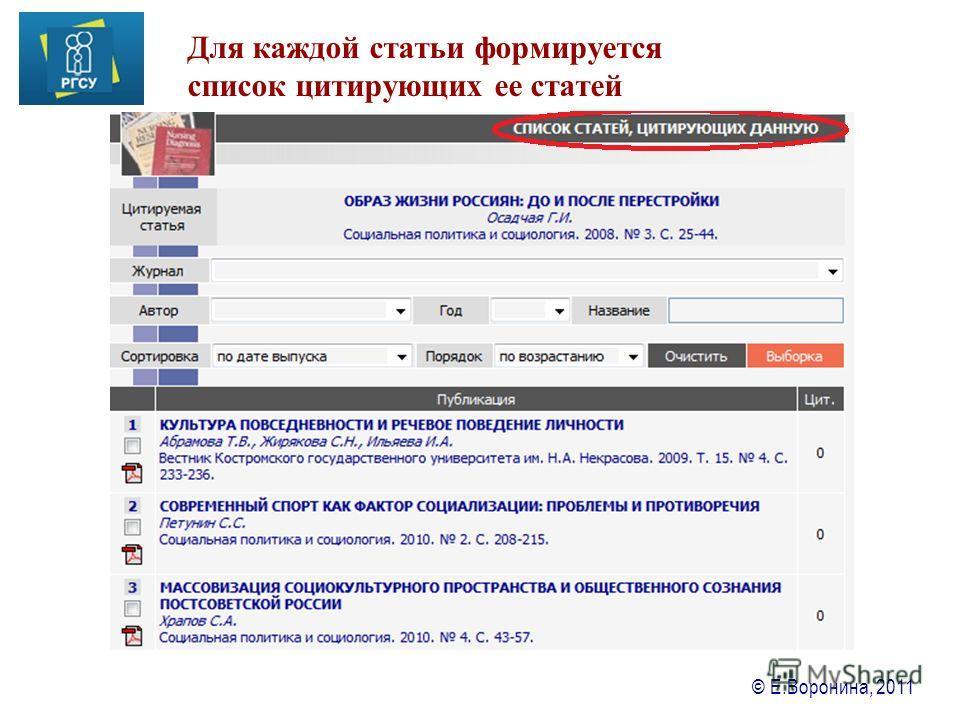 © Е.Воронина, 2011 Для каждой статьи формируется список цитирующих ее статей