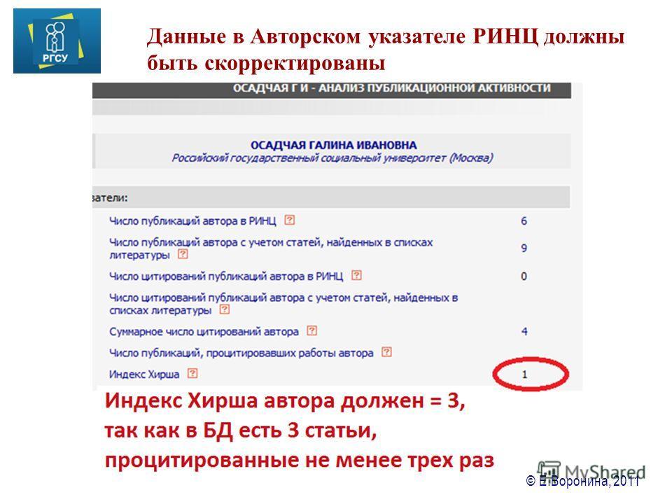 © Е.Воронина, 2011 Данные в Авторском указателе РИНЦ должны быть скорректированы