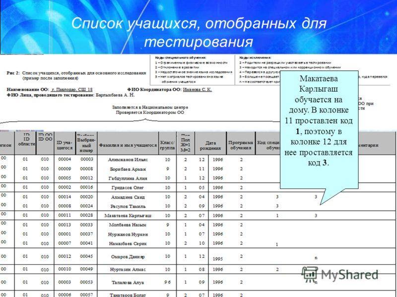 Список учащихся, отобранных для тестирования Макатаева Карлыгаш обучается на дому. В колонке 11 проставлен код 1, поэтому в колонке 12 для нее проставляется код 3.
