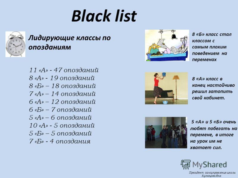Президент самоуправления школы Кузнецова Яна Black list 8 «Б» класс стал классом с самым плохим поведением на переменах 8 «А» класс в конец настойчиво решил затопить свой кабинет. 5 «А» и 5 «Б» очень любят побегать на перемене, в итоге на урок им не