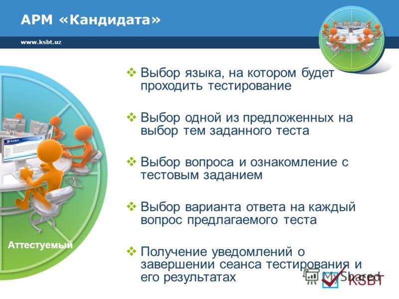 www.ksbt.uz АРМ «Кандидата» Выбор языка, на котором будет проходить тестирование Выбор одной из предложенных на выбор тем заданного теста Выбор вопроса и ознакомление с тестовым заданием Выбор варианта ответа на каждый вопрос предлагаемого теста Полу