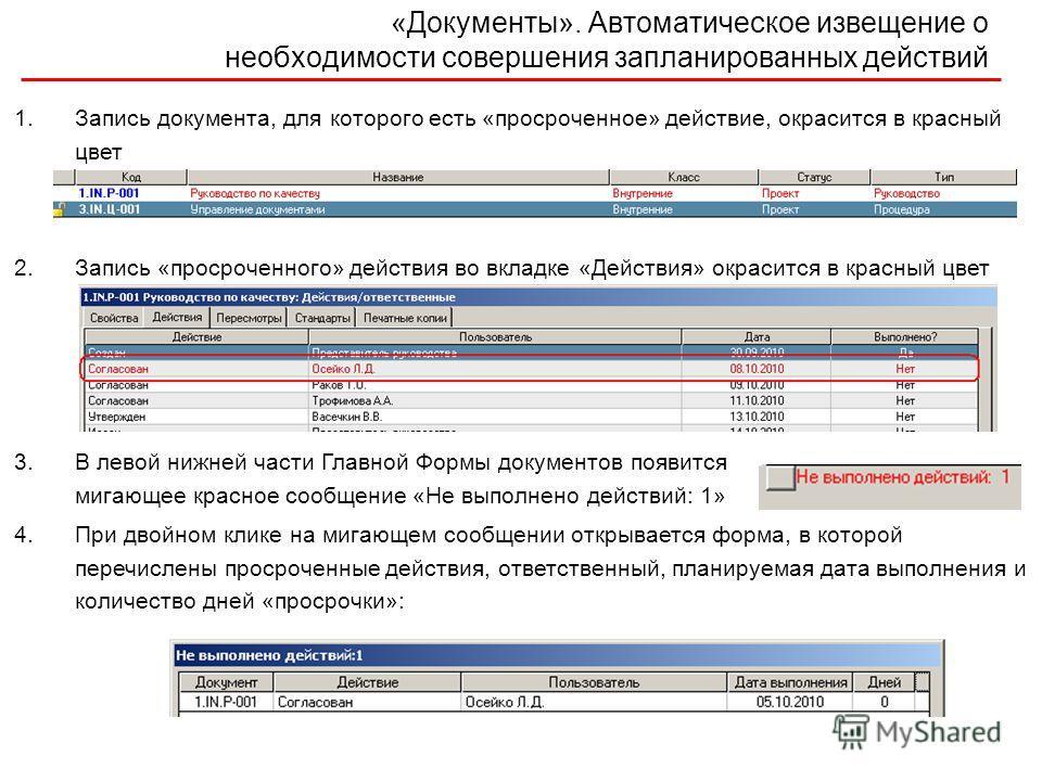 1.Запись документа, для которого есть «просроченное» действие, окрасится в красный цвет 2.Запись «просроченного» действия во вкладке «Действия» окрасится в красный цвет 3.В левой нижней части Главной Формы документов появится мигающее красное сообщен