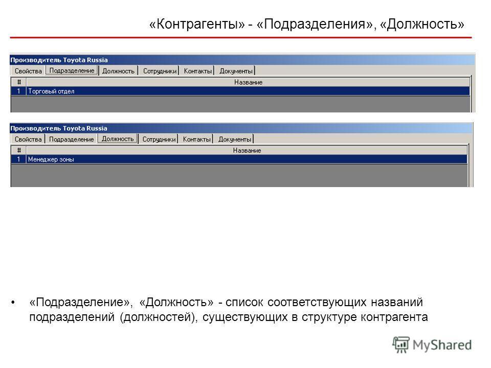 «Контрагенты» - «Подразделения», «Должность» «Подразделение», «Должность» - список соответствующих названий подразделений (должностей), существующих в структуре контрагента