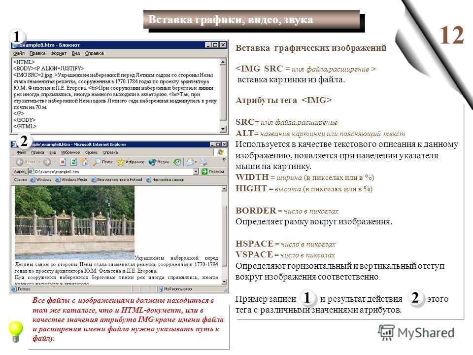 1212 Вставка графических изображений вставка картинки из файла. Атрибуты тега SRC = имя файла.расширение ALT = название картинки или поясняющий текст Используется в качестве текстового описания к данному изображению, появляется при наведении указател