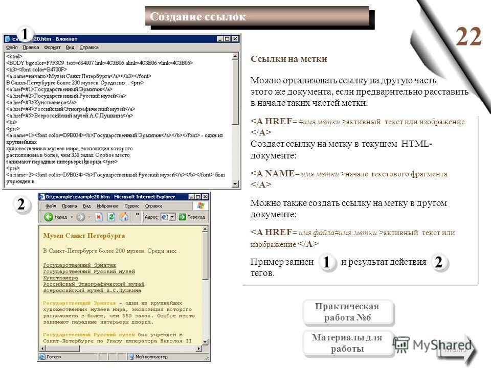 22 1 1 2 2 2 2 1 1 Создание ссылок Ссылки на метки Можно организовать ссылку на другую часть этого же документа, если предварительно расставить в начале таких частей метки. активный текст или изображение Создает ссылку на метку в текущем HTML- докуме