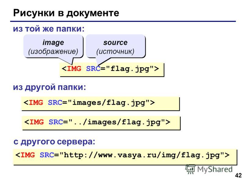 42 Рисунки в документе из той же папки: из другой папки: с другого сервера: image (изображение) source (источник)