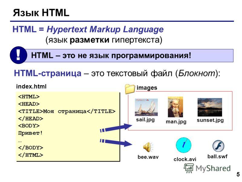 5 Язык HTML HTML = Hypertext Markup Language (язык разметки гипертекста) HTML – это не язык программирования! ! HTML-страница – это текстовый файл (Блокнот): Моя страница Привет! … Моя страница Привет! … index.html sail.jpg man.jpg sunset.jpg clock.a