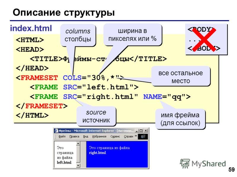 59 Описание структуры index.html Фреймы-столбцы Фреймы-столбцы...... columns столбцы columns столбцы ширина в пикселях или % все остальное место source источник source источник имя фрейма (для ссылок)