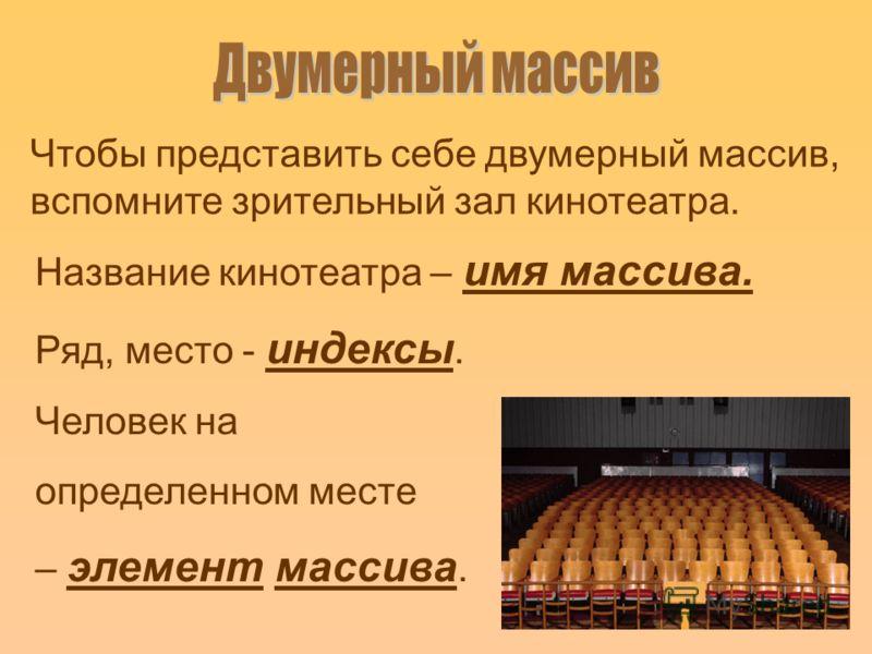Чтобы представить себе двумерный массив, вспомните зрительный зал кинотеатра. Название кинотеатра – имя массива. Ряд, место - индексы. Человек на определенном месте – элемент массива.