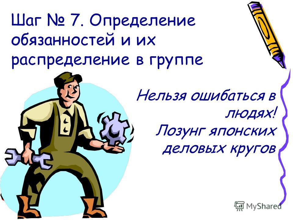 Шаг 7. Определение обязанностей и их распределение в группе Нельзя ошибаться в людях! Лозунг японских деловых кругов