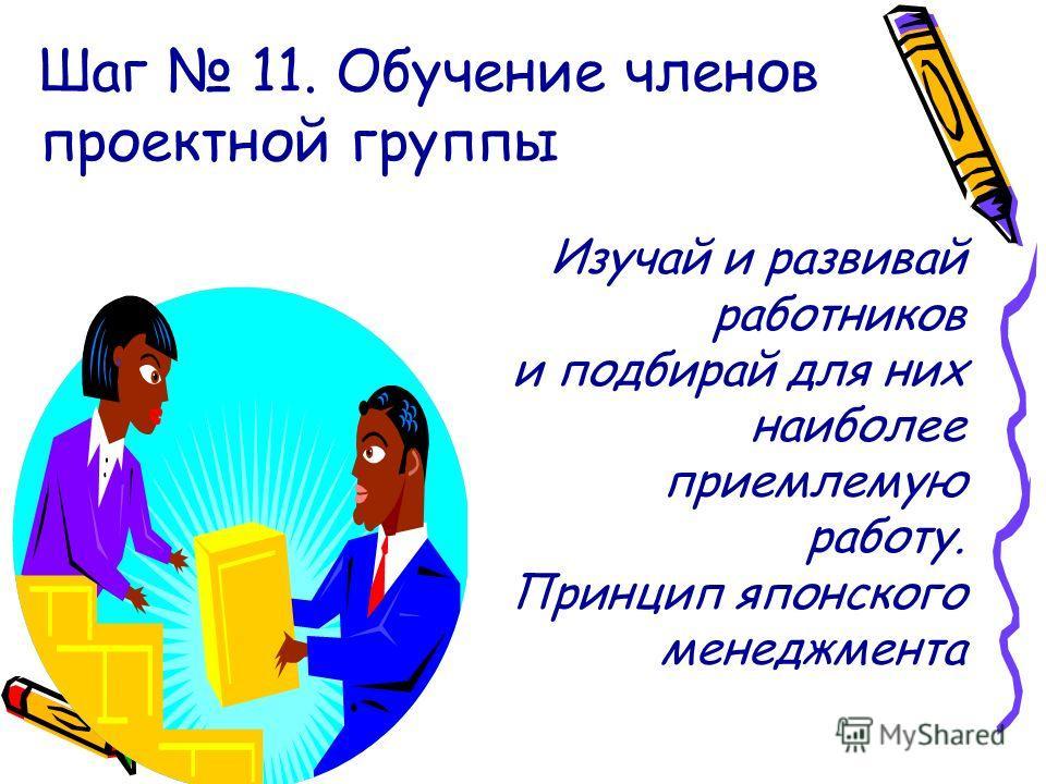 Шаг 11. Обучение членов проектной группы Изучай и развивай работников и подбирай для них наиболее приемлемую работу. Принцип японского менеджмента