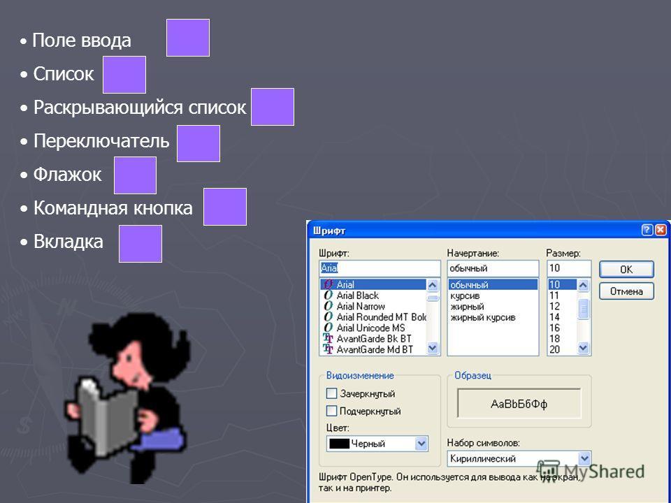 Поле ввода Список Раскрывающийся список Переключатель Флажок Командная кнопка Вкладка