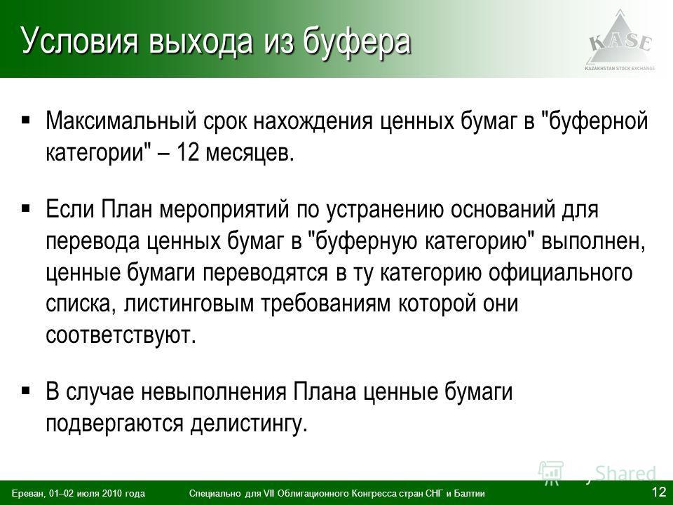 Ереван, 01–02 июля 2010 годаСпециально для VII Облигационного Конгресса стран СНГ и Балтии 12 Условия выхода из буфера Максимальный срок нахождения ценных бумаг в