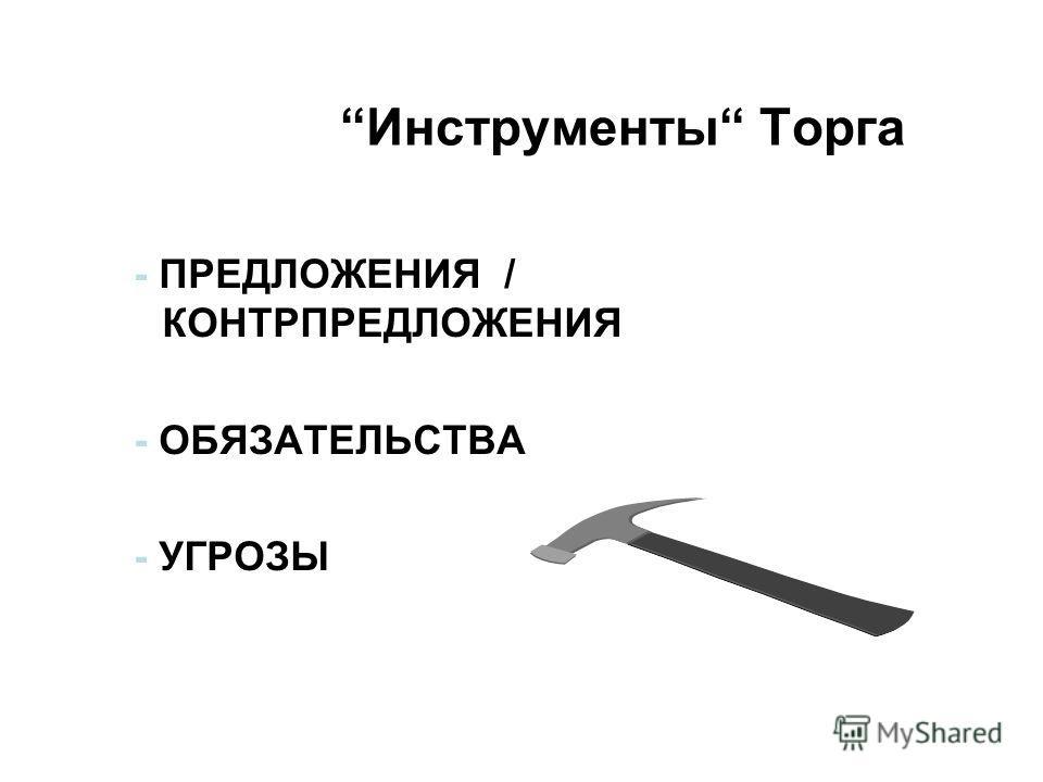 - ПРЕДЛОЖЕНИЯ / КОНТРПРЕДЛОЖЕНИЯ - ОБЯЗАТЕЛЬСТВА - УГРОЗЫ Инструменты Торга