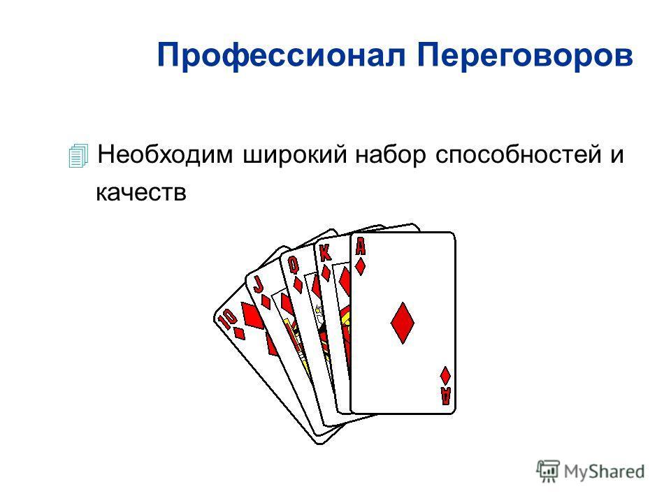 4 Необходим широкий набор способностей и качеств Профессионал Переговоров