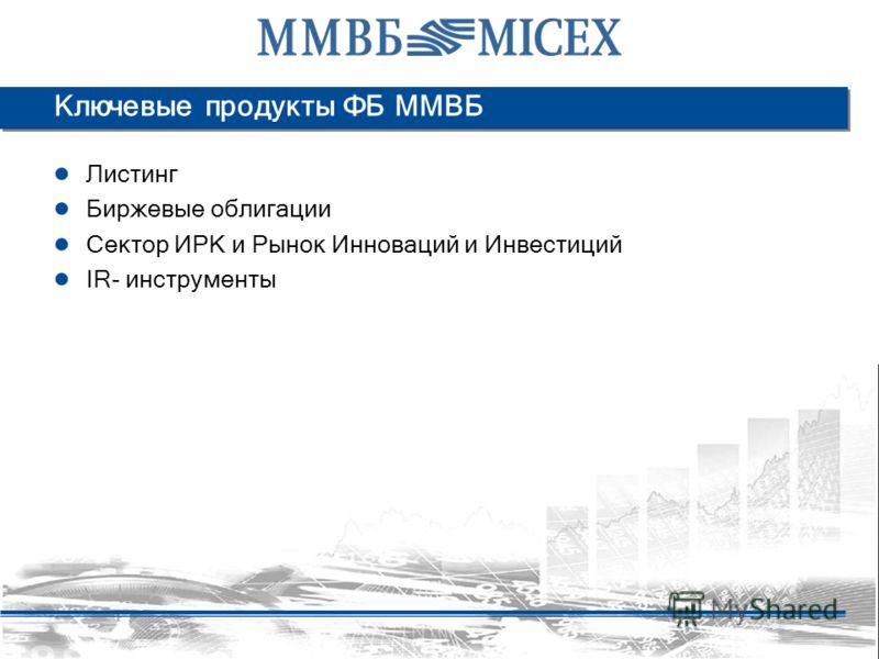 Ключевые продукты ФБ ММВБ Листинг Биржевые облигации Сектор ИРК и Рынок Инноваций и Инвестиций IR- инструменты