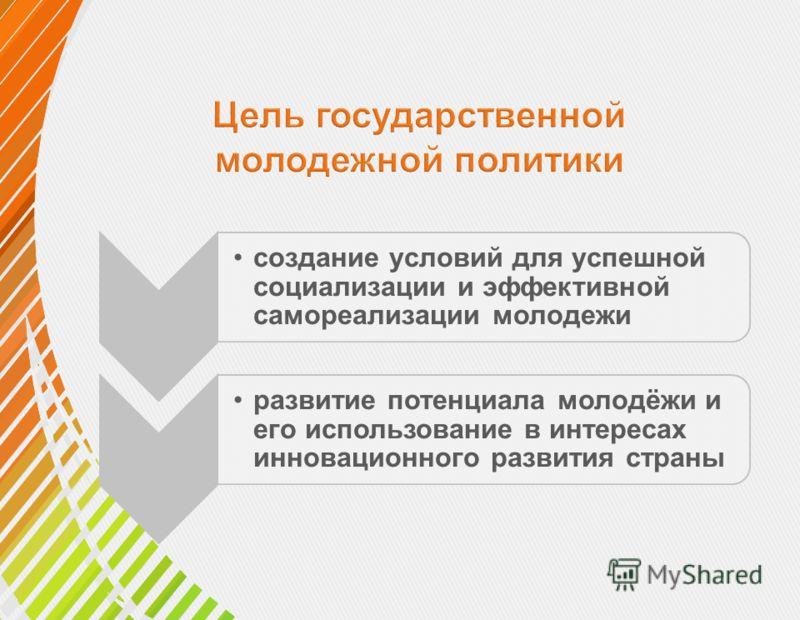 создание условий для успешной социализации и эффективной самореализации молодежи развитие потенциала молодёжи и его использование в интересах инновационного развития страны
